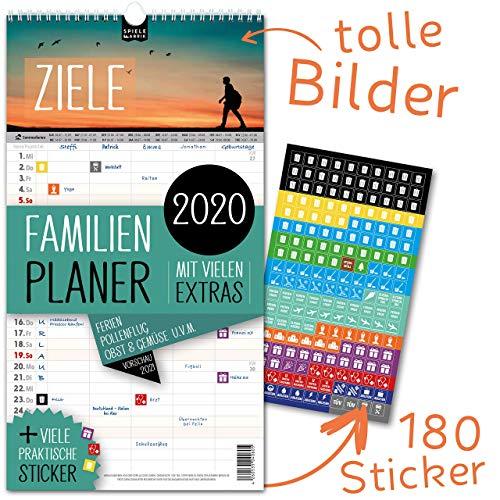 Familienplaner 2020 - ZIELE | 5 Spalten | Wandkalender: 23x43cm | Familienkalender Extras: 180 praktische Sticker, Ferien 2020/21, Pollen-, Obst- & Gemüse-, Jahreskalender, Vorschau bis März 2021