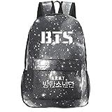 Kingmia BTS Bangtan Boys Rucksack Daypack 3D Digital Gedruckt Leinwand Schulter Rucksack Laptop Notebook Rucksack Verursacht Handtasche für Die Reise Schule (Grau)