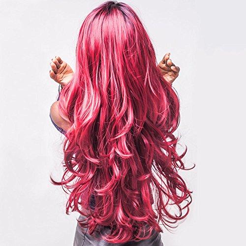 Cosplay Perücke 75cm Manuel Frauen Haar Perücke mit Spitze Perücke Cap für Täglich Karneval Konzert (Wein Rot) ()