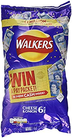 Walkers Crisps Cheese and Onion, 25g (Pack of 6)