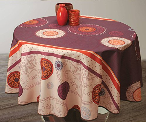 Nappe anti-taches Tzigane Prune - taille : Ovale 150x240 cm