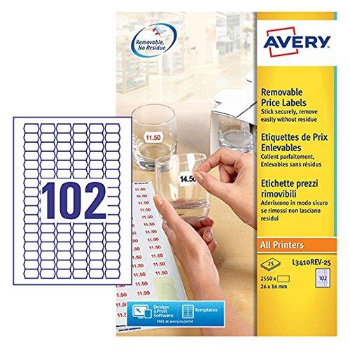 Avery Zweckform L3410REV-25 Preis-Etiketten (A4, 2.550 Stück, ablösbar, 26 x 16 mm) 25 Blatt weiß