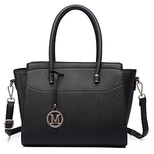 Miss Lulu Damen Klassische Handtasche Winged Schultertasche Groß Umhängetasche Taschen -