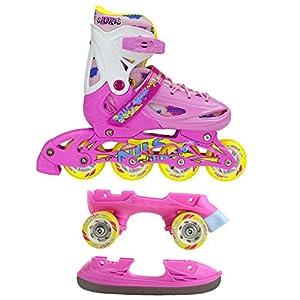 Inline Skates Kinder | NILS| Inliner 3in1 | Verstellbare Schlittschuhe Rollschuhe Größenverstellbar | Pink- Blau –Gelb | Größen 27-38 (Pink, 35-38)