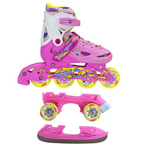 Inline Skates Kinder | NILS| Inliner 3in1 | Verstellbare Schlittschuhe Rollschuhe Größenverstellbar | Pink- Blau –Gelb | Größen 27-38 (Pink, 31-34)