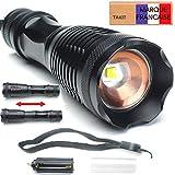 TAKIT Lampe torche LED Puissante, CREE XML-L2 - 1200 Lumens - Lampe de poche - Éclairage Ajustable - Garantie à Vie