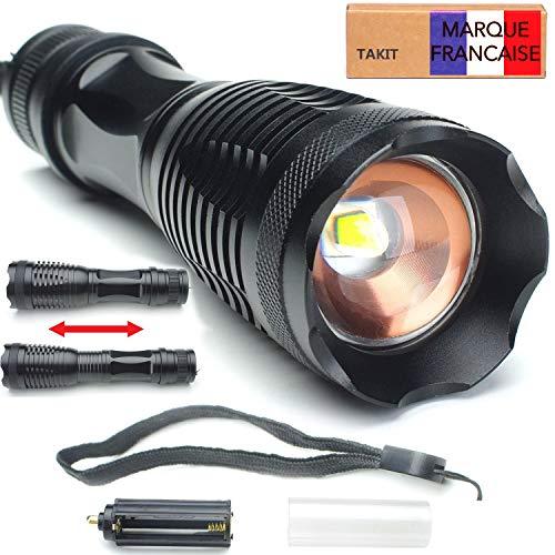 Takit LED2 - LED Taschenlampe, 1200 Lumen mit CREE XML-L2, tragbare LED-Handlampe – einstellbarer Fokus – Handgerät – Wasserdicht – Taschenlampe