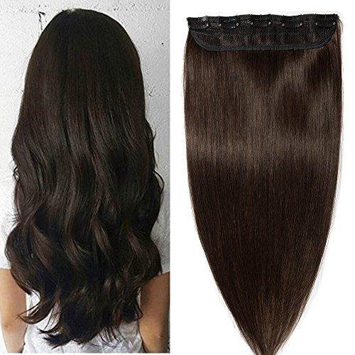 Extension capelli veri clip fascia unica one piece remy human hair lunga 55cm pesa 55g, #2 marrone scuro