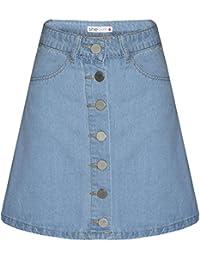 Womens Tall Button Front Denim Mini Skirt