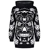 Dorical Frauen Kleidung Monochrome Hoodie Floral Skull Tunika Hoodie Sweatshirt Tops Shirt Clearance