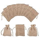 PandaHall Elite 30pcs Perù colore sacchetti regalo Borse di tela naturale con cordoncino per festa di matrimonio progetti di arte e artigianato regali snack gioielli e Natale,9x7cm