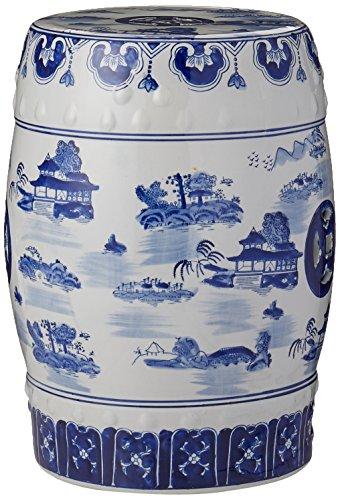 ORIENTAL FURNITURE Orientalische Möbel, 45,7 cm, Porzellan, Blau/Weiß - Crackle Glas Antik