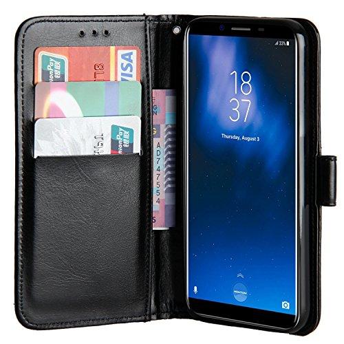 Raiphy Leder Brieftasche Hülle für Homtom S8,Telefon schützender lederner Fall mit Einem Einbauschlitz und Standfunktion (Schwarz)