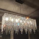 Rechteckige Lineare Insel Kronleuchter Moderne Kristall Decke Lampe Art Deco Speisesaal Beleuchtung Halterung Flush Mount (Länge 32
