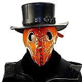YKKHHCD Steampunk Gasmaske, PU Material Halloween Gothic Pest Kleidung Brille Brille Cyberpunk...