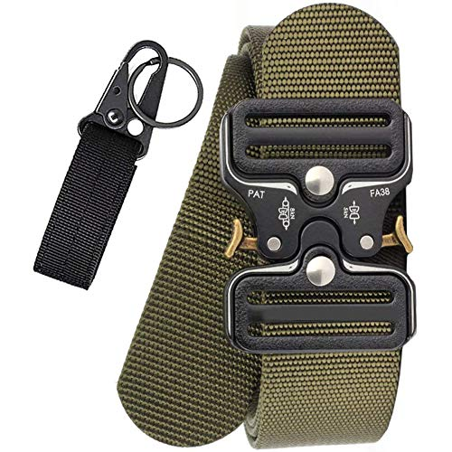 AIZESI Militär Taktischer Gürtel,Sicherheitsggurte Schwerlast Gürtel Grün Metallschnalle Nylon Gürtel Schnellverschluss für Vatertagsgeschenk(Grün)
