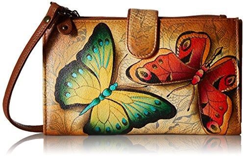 Anuschka handgemalte Leder, Damenbörse, Damenkupplung, Geldbörse der Frauen- Große lange Brieftasche mit Handytasche, Smartphone-Gehäuse, Abnehmbarem Schultergurt ( Earth Song 1113 EST) -
