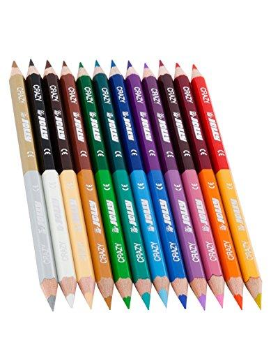 Jolly Superstick Crazy Buntstifte Farbstifte | 24 Farben mit 12 Farbstiften | Kinderfest und Bruchsicher | Ungiftig | extra dicke Mine | 12 Stifte im Kartonetui
