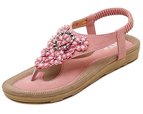 Minetom Damen Sommer Böhmische Stil Flache Schuhe Süße Blumen Strass T-Strap Sandalen Flats Thong Strand Hausschuhe Rosa EU 37 (Classic Natur Thong)
