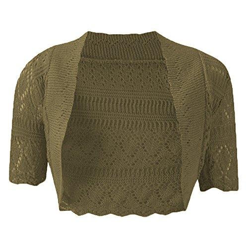 Nuovo da donna lavorato a maglia bolero cardigan uncinetto Coprispalle aperta manica corta Plus taglia UK8 – 22 Khakhi