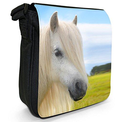 Pony & Shetlandpony Kleine Schultertasche aus schwarzem Canvas Lange weiße Mähne bei weißem Pony
