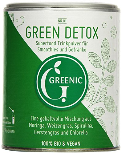 Greenic Green Detox Superfood Trinkpulver Mischung, 1er Pack (1 x 90 g)