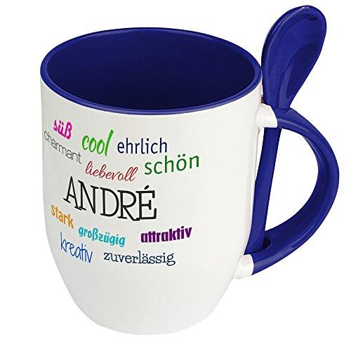 Löffeltasse mit Namen André - Positive Eigenschaften von André - Namenstasse, Kaffeebecher, Mug, Becher, Kaffeetasse - Farbe Blau