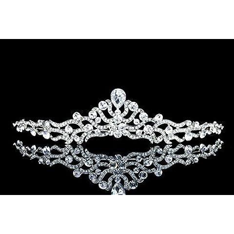 Elegant Floral Ribbon Rhinestone Crystal Bridal Tiara Crown T1032 by Venus Jewelry