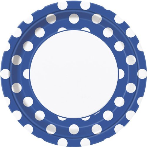Royal Blue Dots Dinner Plate