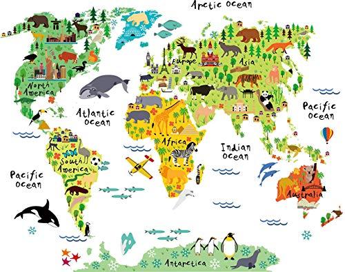SELUXU Niños educativos Animales mapas Mundo Mapa