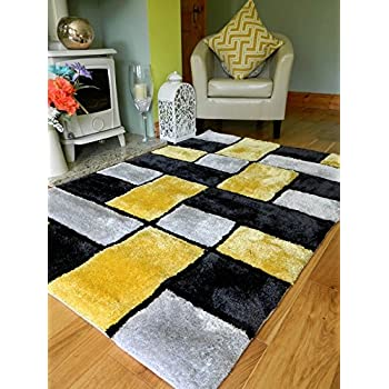 NEW MODERN YELLOW BLACK SILVER THICK HEAVY SILKY SOFT LUXURIOUS SHAGGY  LIVING AREA BEDROOM RUG NON SHED SHAGGY PILE 90 X 150 Cms