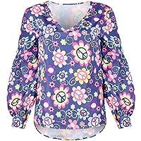Mujeres Otoño Cuello V Manga Larga Puff Estampado De Flores Camiseta Suelta Tops Blusa S-3XL