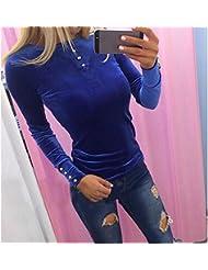 Europa Y Los Estados Unidos de Ventas de Alta Oto?o de Las Mujeres 's Botón Apretado de Manga Larga T-shirt,Azul real,S