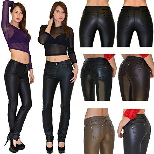 by-tex Pantalon femme Jean femmes slim pantalon en cuir pour femmes cuir simili pantalon H12 J94