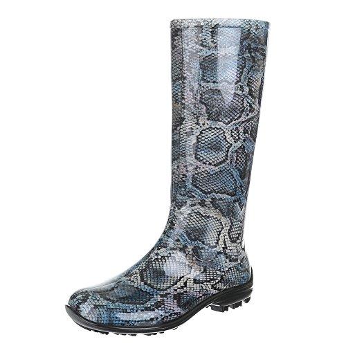 Damen Schuhe, GST-F100P, Stiefel, Moderner REGENSTIEFEKL mit Muster Gummi, Gummi, Blau, Gr 40