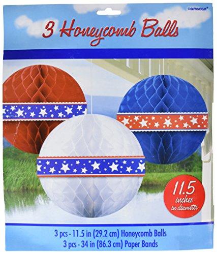 Amscan 206733 Red, White & Blue Balls Honeycomb