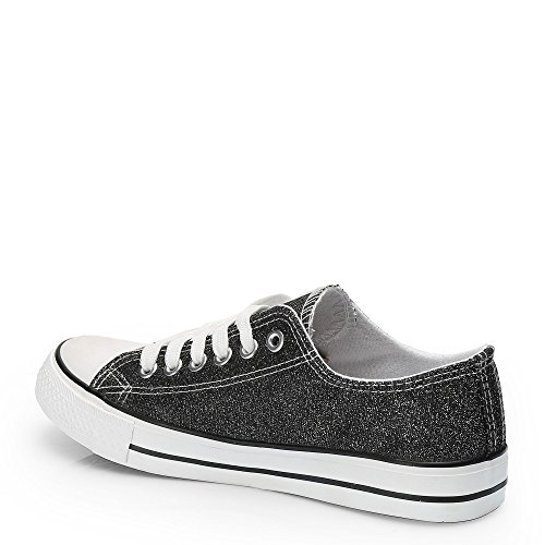 Ideal Shoes Jale Sneaker, niedrig, Glitzer Schwarz