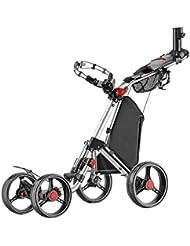 Caddytek Superlite Quad V2 4-Rad Push Golftrolley Golfwagen Golfcaddy silber inkl. Zubehör Schirmhalter, Scorecardhalter Kühltasche