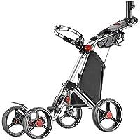 Caddytek Superlite Quad V2 4-Rad Trolley Push Golftrolley silber Räder schwarz