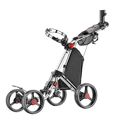 CaddyTek Superlite Quad V2 4-Rad Trolley Push Golftrolley Silber Räder schwarz