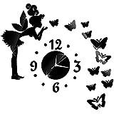 Reloj Pared Moderno Diseño de Hada y Mariposas Reloj Pared Movimiento de Cuarzo Forma DIY