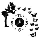 Soloo - Orologio da parete moderno, motivo fata e farfalle, movimento al quarzo, stile fai-da-te nero