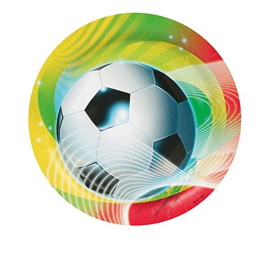 8 Teller * FUSSBALL * für Party und Geburtstag // Kinder Geburtstag Party Fete Set Jungen Pappteller Partyteller Plates Ball Fussball WM 2014 Brasilien Grün gelb