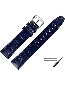 Uhrenarmband 20 mm Leder blau - inkl. Federstege & Werkzeug - Armbanduhren Ersatzband mit Krokoprägung - Marburger...