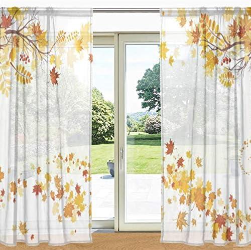 HUAIX Home Autumn Autumn Autumn Maple Leaves Printed Sheer Window And Door Curtain 2 Pannelli 55 x 78 , Pannelli tascabili a Stelo per Soggiorno Arrossoamento Camera da Letto b49230