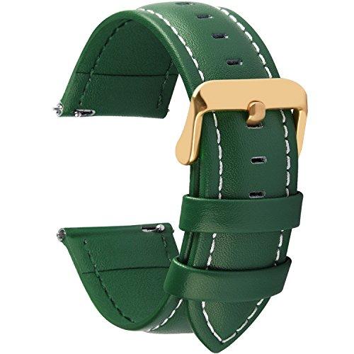 Fullmosa 12 Farben Uhrenarmband, Axus Serie Lederarmband Ersatz-Watch Armband mit Edelstahl Metall Schließe für Herren Damen 22mm,Dunkelgrün mit golden Schnalle