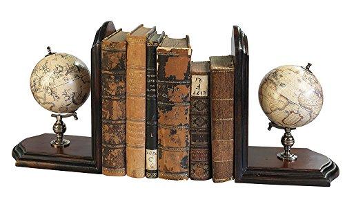 Authentic Models GL009f Globus-Buchstützen - Holz massiv - Altmessinghalterung - handgefertigt 36 x 13 x 25 cm