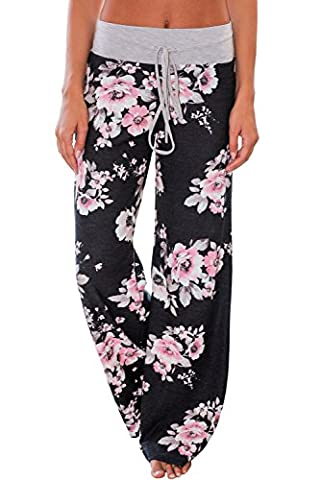 Ladies Palazzo Trousers, Womens Casual Floral Summer Pants Wide Leg Flared Elasticated Stretch, Good for Party Holiday Yoga ((UK 12-14) M,
