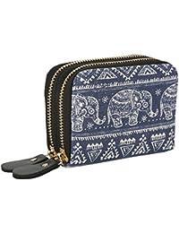 Womens Zipper Card Wallet Purse Holder Women Small Bohemian Elephant Canvas Clutch Bag (Small