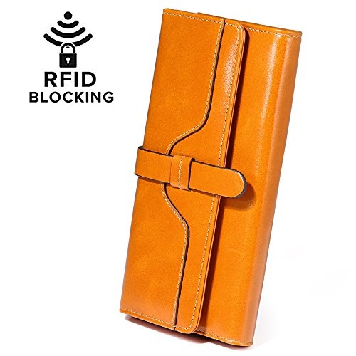 Damen Geldbörse, Gewachstes Echtleder, RFID Schutz - 9